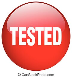 tested red round gel isolated push button