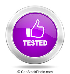 tested round glossy pink silver metallic icon, modern design web element