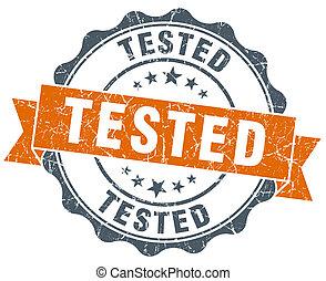 tested vintage orange seal isolated on white