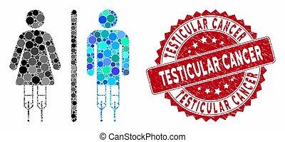 testicolare, cancro, invalido, collage, francobollo, wc, textured, persone