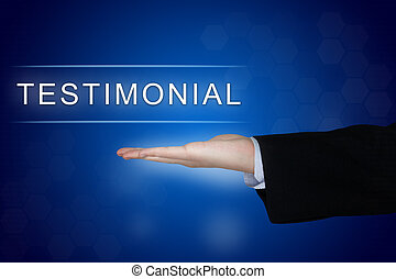 testimonial button on blue background