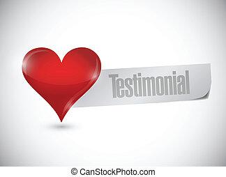 testimonial, de, el corazón, señal, ilustración