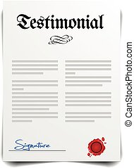 Testimonial - detailed illustration of a Testament Letter, ...