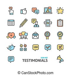 Testimonial, Feedback and Review Signs Color Thin Line Icon Set. Vector