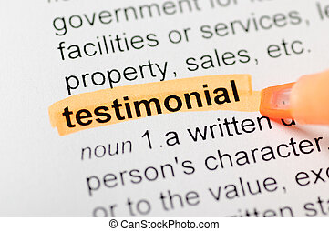 Testimonial highlighted in dictionary - Testimonial...