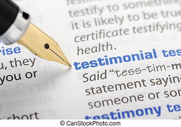 testimonial, -, woordenboek, reeks