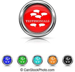 testimonials, ícone, -, seis, cores, jogo