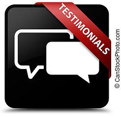 Testimonials black square button red ribbon in corner