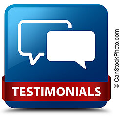 Testimonials blue square button red ribbon in middle