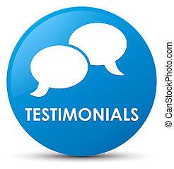 Testimonials (chat icon) cyan blue round button