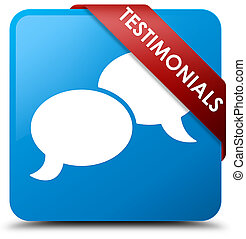 Testimonials (chat icon) cyan blue square button red ribbon in corner