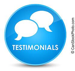 Testimonials (chat icon) elegant cyan blue round button