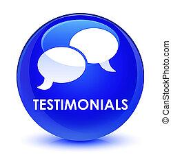 Testimonials (chat icon) glassy blue round button