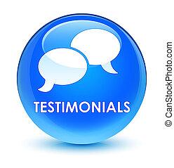 Testimonials (chat icon) glassy cyan blue round button