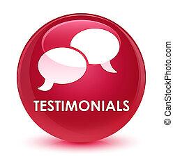 Testimonials (chat icon) glassy pink round button