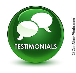 Testimonials (chat icon) glassy soft green round button