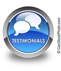 Testimonials (chat icon) glossy blue round button
