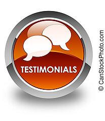 Testimonials (chat icon) glossy brown round button