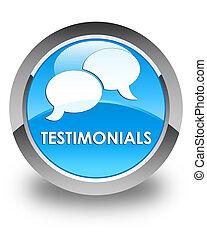Testimonials (chat icon) glossy cyan blue round button