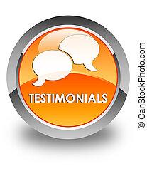 Testimonials (chat icon) glossy orange round button