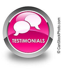 Testimonials (chat icon) glossy pink round button