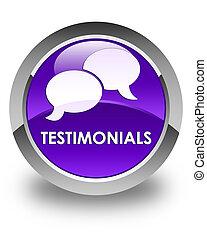 Testimonials (chat icon) glossy purple round button