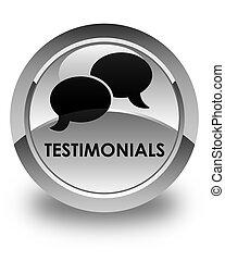 Testimonials (chat icon) glossy white round button