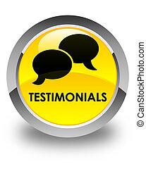 Testimonials (chat icon) glossy yellow round button