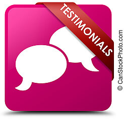 Testimonials (chat icon) pink square button red ribbon in corner