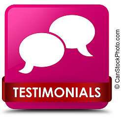 Testimonials (chat icon) pink square button red ribbon in middle
