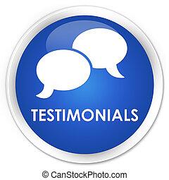 Testimonials (chat icon) premium blue round button