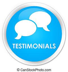 Testimonials (chat icon) premium cyan blue round button