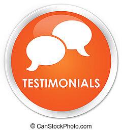 Testimonials (chat icon) premium orange round button