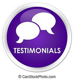 Testimonials (chat icon) premium purple round button