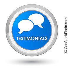 Testimonials (chat icon) prime cyan blue round button
