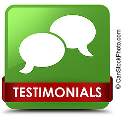 Testimonials (chat icon) soft green square button red ribbon in middle