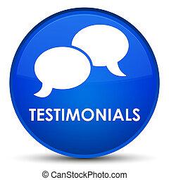 Testimonials (chat icon) special blue round button