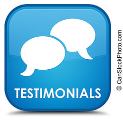 Testimonials (chat icon) special cyan blue square button
