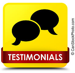 Testimonials (chat icon) yellow square button red ribbon in middle
