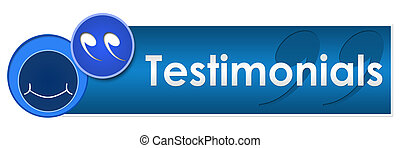 A banner image for testimonials with smile and testimonials text
