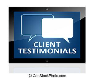 testimonials, client, tablette