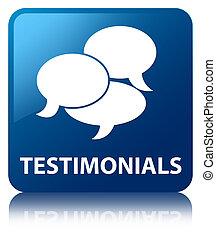 Testimonials (comments icon) blue square button