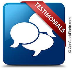 Testimonials (comments icon) blue square button red ribbon in corner