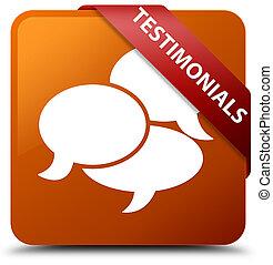 Testimonials (comments icon) brown square button red ribbon in corner