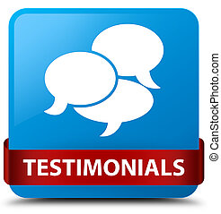 Testimonials (comments icon) cyan blue square button red ribbon in middle