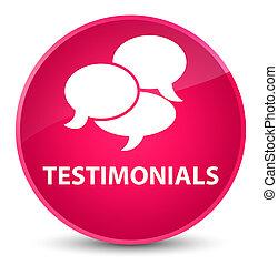 Testimonials (comments icon) elegant pink round button