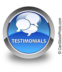 Testimonials (comments icon) glossy blue round button