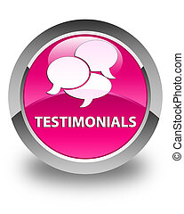 Testimonials (comments icon) glossy pink round button
