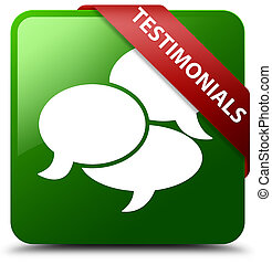 Testimonials (comments icon) green square button red ribbon in corner