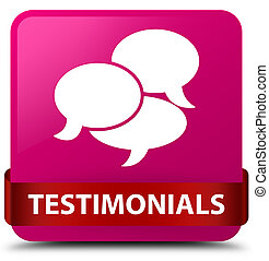 Testimonials (comments icon) pink square button red ribbon in middle